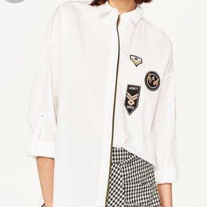 Zara Basics White Army Miss Collar Blouse Size S